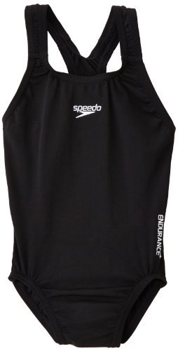 Speedo Girls Endurance Plus Medalist Swimsuit in Black or Red (30, Black)