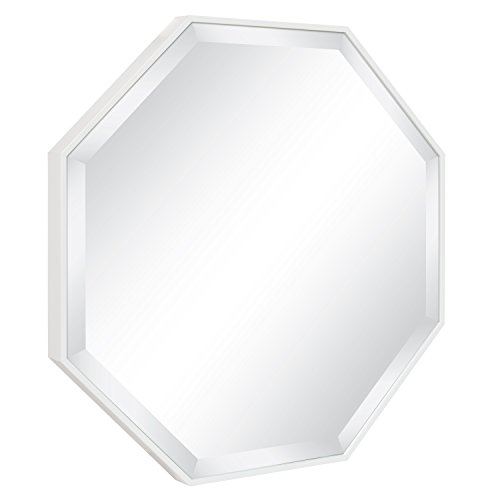 Kate and Laurel Rhodes Modern Octagon Wall Mirror, White 25 x 25 (Octagon Frame)