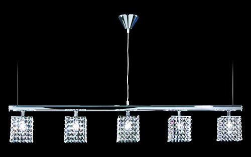 Contemporary Linear Chandelier in Silver Finish