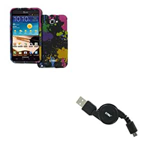 EMPIRE Samsung Galaxy Note I717 Rubberized Design Case Cover (Paint Splatter) + Retractable USB 2.0 Data Cable [EMPIRE Packaging]