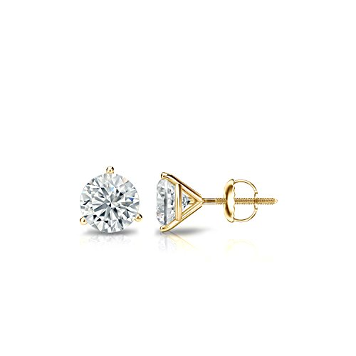 Diamond Wish 14k Yellow Gold Round Diamond Stud Earrings (2/5ct TW, J-K, I1-I2) 3-Prong Martini, Screw-Back
