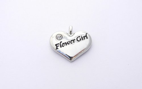 Flower Girl Heart Charm - Silver (Flower Girl Heart Charm)