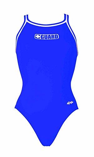 UPC 766338773244, Dolfin Swimwear Solid Dbx Back W/ Guard Logo - G Royal, 34