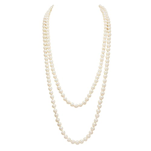 [Rosemarie Collections Women's Classic Cream Knotted Faux Pearl Strand Necklace(64 inches/Long)] (Knotted Pearl Strand)