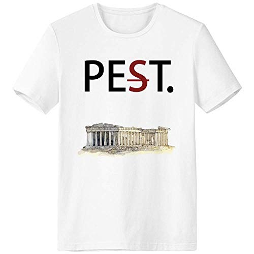 Acropolis of Athens of Greece Pet But Not Pest White T-Shirt Short Sleeve Crew Neck Sport