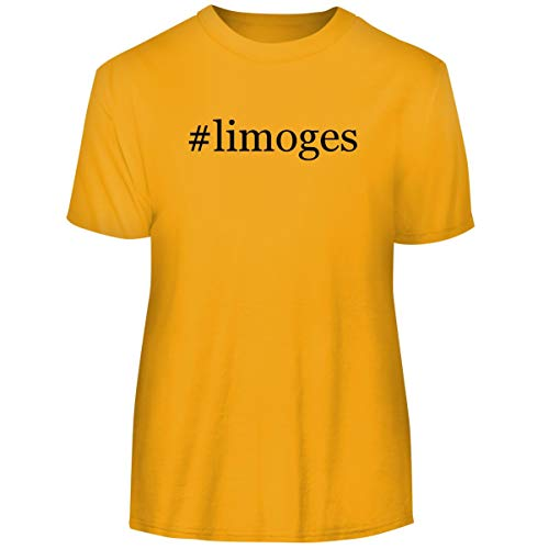 One Legging it Around #Limoges - Hashtag Men's Funny Soft Adult Tee T-Shirt, Gold, Large ()
