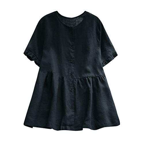 - Toimothcn Linen Shirts for Women, Womens Vintage Floral Printed O Neck Short/Long Sleeve Tunic Tops(Navy4,XXXL)