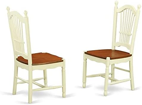 ADHW Dining Room Chairs with Wood Seat - Finished in Buttermilk and Cherry, Set of 2