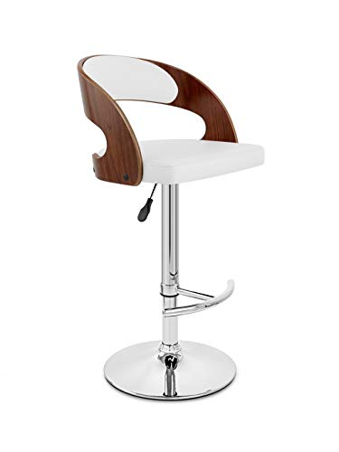 BARSTOOLRI High Chair, Swivel Gas Lift Solid Wood Seat Chrome Footrest and Base Adjustable Stool for Bar Counter Kitchen Home (Color : Pure White seat+Brown Wood)
