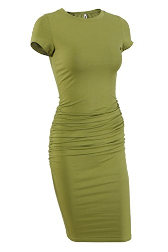 (Missufe Women's Short Sleeve Ruched Casual Sundress Midi Bodycon T Shirt Dress (Green-01,)
