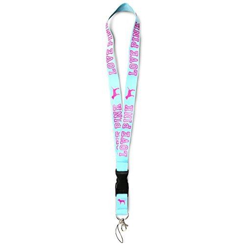 - Love Pink Detachable Lanyard Teal for keys cell phones clip clasp breakaway heavy duty
