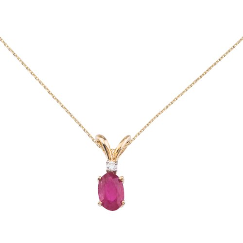 14k Yellow Gold Ruby and Diamond Oval Pendant with 18
