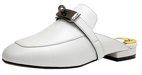 Calaier Mujer Ca Bloquear 1.5CM Cuero Ponerse Zuecos Zapatos Blanco