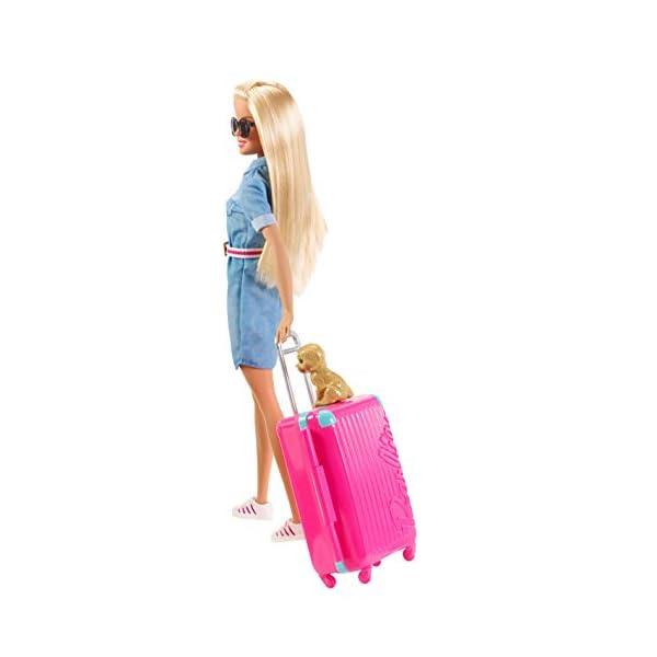 Barbie in Viaggio, Bambola Bionda con Cucciolo, Valigia che si Apre, Adesivi e Accessori, Giocattolo per Bambini 3… 3 spesavip