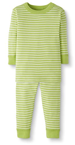 Moon and Back by Hanna Andersson Baby/Toddler 2-Piece Organic Cotton Long Sleeve Stripe Pajama Set, Lime Green Stripe, 6-12 months