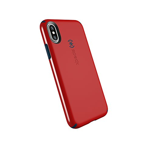 (Speck Products CandyShell Cell Phone Case for iPhone XS/iPhone X - Dark Poppy Red/Deep Sea Blue)