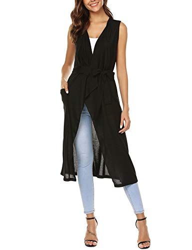 URRU Women's Draped Vest Knit Sleeveless Cardigan with Side Pockets Black XXL