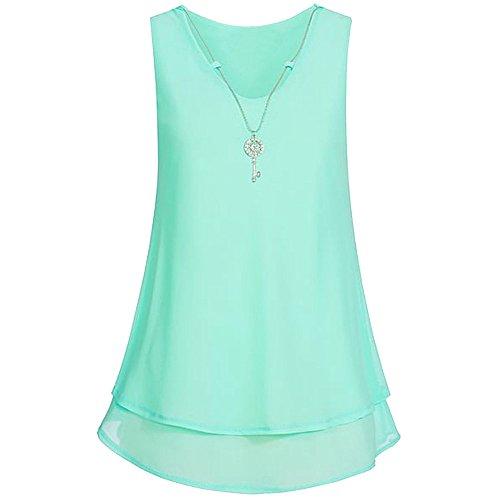 Elegant Shirt Bluse Weste Chiffon Halskette Vorne T Minzgrün Tank aushöhlen Unterhemd Frauen Tops V Hemdbluse Sommer mit Ausschnitt Damen zurück Ärmellos Unregelmäßigkeit Reißverschluss Rovinci AwOxaTq