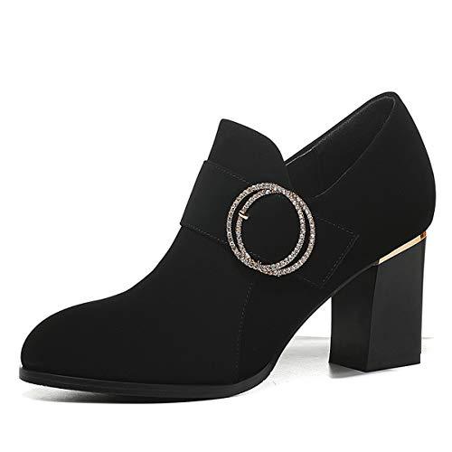 AJUNR Transpirable Zapatos Zapatos de Diamante Plaza Tacones Cabeza Redonda Damas Zapatos de Tacon Alto Claret