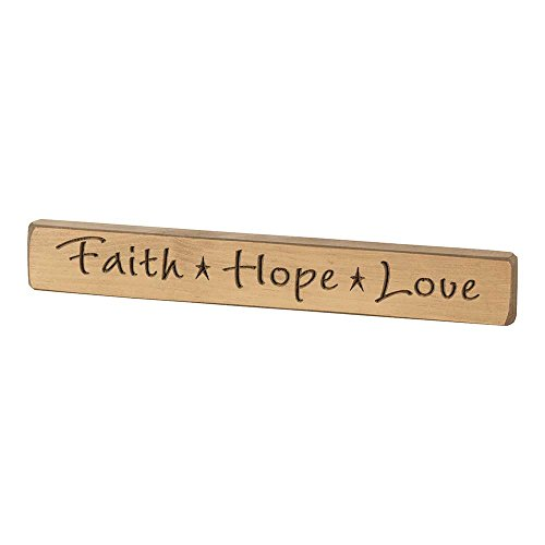 Dicksons Faith Hope Love Cappuccino Brown 12 x 2 Wood Tabletop Plaque by Dicksons