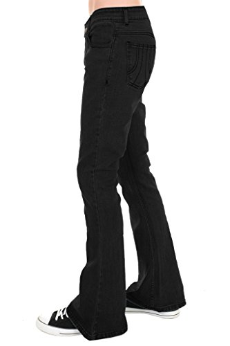 Run & Fly Mens 70s Retro Black Stretch Denim Rock N Roll Bell Bottom Flares 34 Short (1970s Bell Bottom Pants)