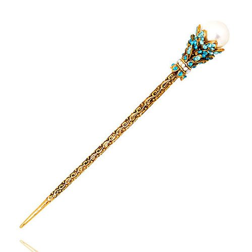 Price comparison product image 2 pieces High Quality,4 Colors Rhinestone Crystal Antique Hair Sticks, Hairpin,Chopsticks,Hair accessory ,Wedding Hair Jewelry (blue)