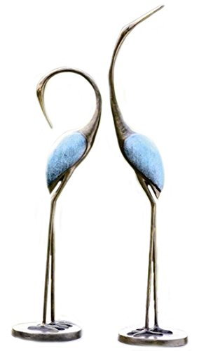 Crane Bronze Garden - SPI Home 33336 Stylized Garden Crane Pair Sculpture