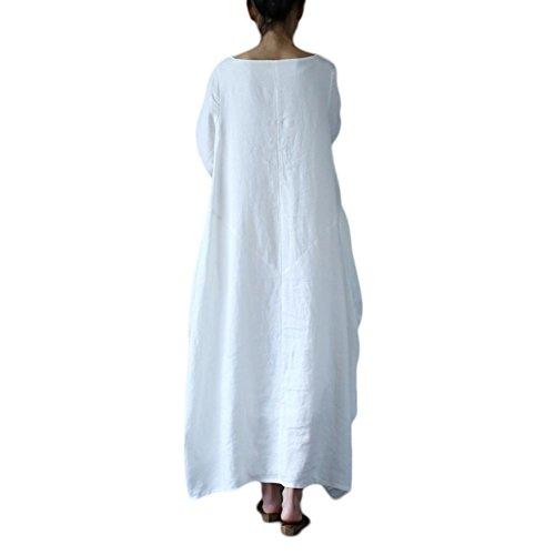 Maxi Long Dress Neck Cotton Casual Yalatan Women's Crew amp;Linen Dress Loose White Fa58q