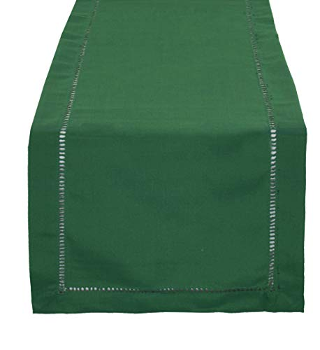(Fennco Styles Rochester Collection Classic Solid Color Hemstitched Border 14 x 36 Inch Table Runner for Dining Table, Dinner Parties, Wedding, Machine Washable, Emerald)