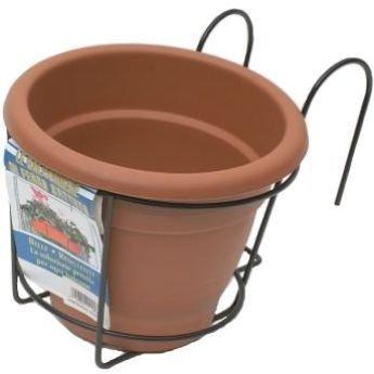 kit 2 portavaso singolo balcone 1 posto con vaso e sottovaso ... - Portavasi Balcone