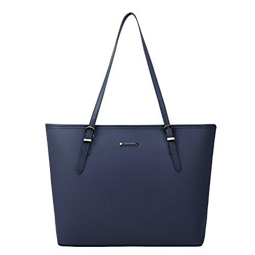 ECOSUSI Women's Top Handle Handbags Purse Tote Shoulder Bag, Blue