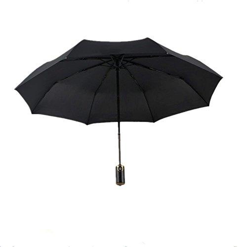 Regenschirm Top_Elec Automatischer Sturmfester Windfester Taschenschirm Umbrella Reiseschirm Schirm mit einhändiger Auf-Zu-Automatik für Damen und Herren-Schwarz