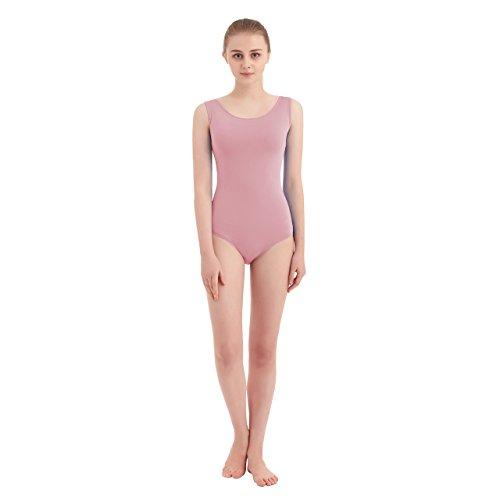 Women's Scoop Neck Lycra Spandex Sleeveless Tank Leotard (X-Large, Pink) ()