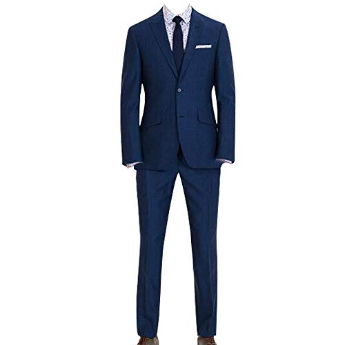 HBDesign Mens 3 piece 2 Button Notch Lapel Slim Trim Fit Casual Suite Blue 50R