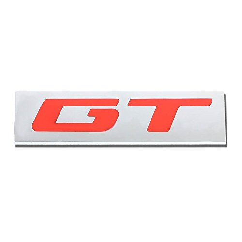 GT Red/Chrome Aluminum Alloy Auto Trunk Door Fender Bumper Badge Decal Emblem Adhesive Tape Sticker ()