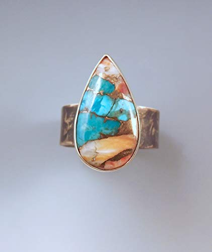 Kingman Turquoise and Oyster Ring- Smoky Bronze Patina- Metal Art- Oyster and Turquoise Ring