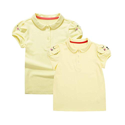 (UNACOO Toddler Girls Pure Cotton Short Sleeves Polo Shirt with Picot Collar Pack of 2 (4/5T, Yellow+Rabbit))