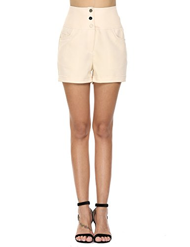 - Zeagoo Uniform Flat Front Twill Short, Khaki 3 Button, Large