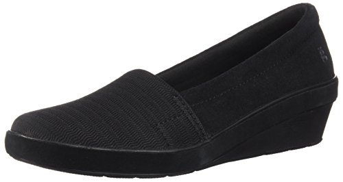 Grasshoppers Women's Chase Wedge Suede Loafer, Black, 9 M US
