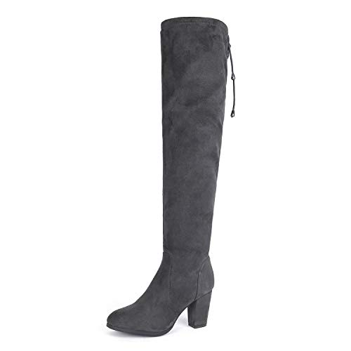 DREAM PAIRS HIGHLEG Women's Thigh High Fashion Over The Knee Drawstring Strech Block Mid Heel Boots Grey-SZ-5 for $<!--$39.99-->