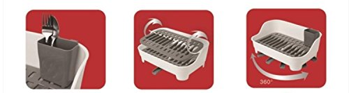 Kitchen Details Space Saving Dish Rack With Cutlery Holder, White-gray, 17x11x6