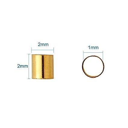 Pandahall 1Box//3000pcs 6 Colors Rondelle Tiny Crimp Beads 2mm Jewelry Bracelet Making Clamp End Spacer Beads Antique Bronze /& Red Copper /& Golden /& Silver /& Platinum /& Black