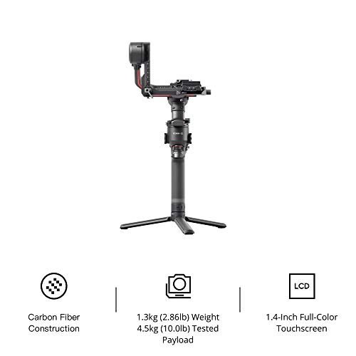 DJI RS 2 – 3-Axis Gimbal Stabilizer for DSLR and Mirrorless Camera, Nikon Sony Panasonic Canon Fujifilm, 4.5kg Payload, Carbon Fiber, Touchscreen, Black