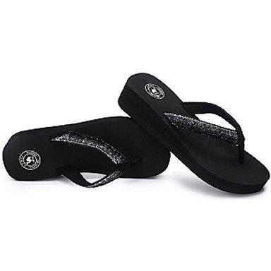 LvYuan Mujer Sandalias Confort Suelas con luz Tejido Verano Casual Confort Suelas con luz Tacón Cuña Negro 2'5 - 4'5 cms Black