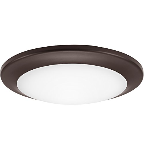 GetInLight 6 Inch LED Disk Light, Dimmable, Flush Mount or Recessed, Soft White 3000K, Matte Bronze Finish, ETL Listed, Wet Location Rated, IN-0301-3-BZ 6' Recessed Lighting Compact