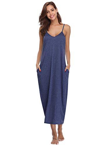 Abollria Womens V-Neck Spaghetti Strap Maxi Dress Summer Casual Loose Pocket Beach Cami Long Dress Sleepdress Dark Blue XL (Spaghetti Strap Knit Dress)