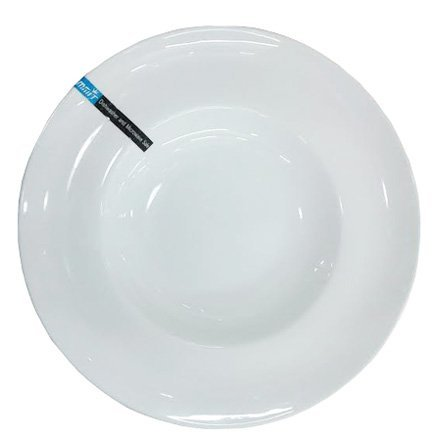 Super White Pasta Bowl/Plate with Curved Rim (6 Count) RCN-1110 Sunrise Kitchen Supply