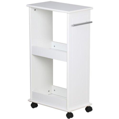 New White Space Saver Slimline Rolling Storage Shelf 4 Wheels Bathroom (Mahogany 3 Drawer Granite Top)