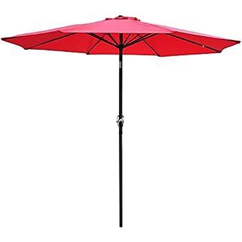 Yescom 9feet Aluminum Outdoor Patio Umbrella W/ Crank Tilt Deck Market Yard  Beach Pool Cafe