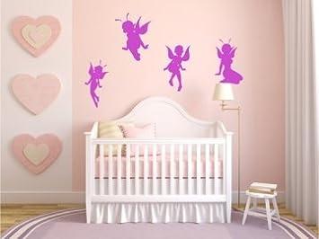 4 Stück niedliche Elfen, Feen Wandtattoo, Wandaufkleber Fairy für Mädchen  Kinderzimmer je 20cm tolle Sticker verschiedene Farben wählbar